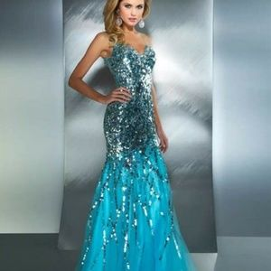 Mac Duggal Sequin Mermaid Prom Pageant Quinceanera